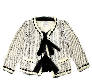 Chanel Tweed Fringe Sequin Black Bow White Jacket