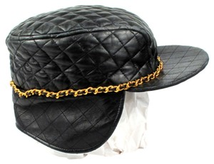 Chanel CHANEL LEATHER HAT - VINTAGE RARE QUILTED BRIM BLACK CAP WITH GOLD CHAIN - GREEN