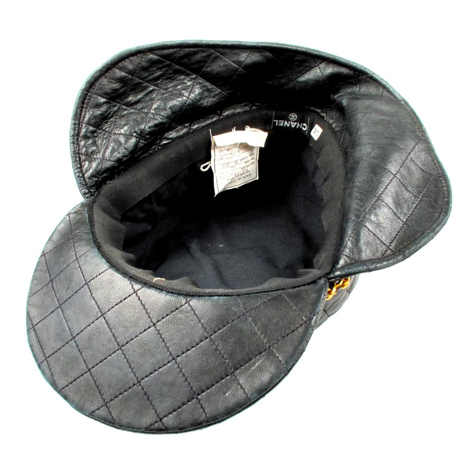 Chanel Green Leather - Vintage Rare Quilted Brim Black Cap with Gold ... 1551a77cf68