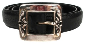 Chrome Hearts CHROME HEARTS MENS BELT (UNISEX) - STERLING SILVER BUCKLE - BLACK LEATHER