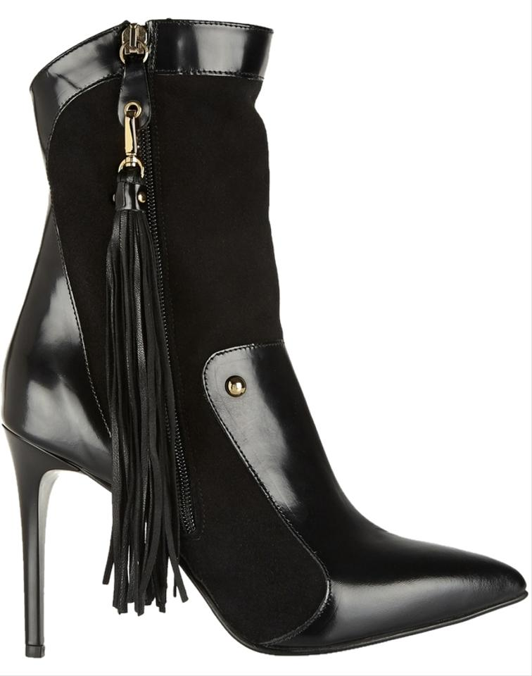 58f9100233 Just Cavalli Black Leather Paneled Suede And Boots Booties Size US ...