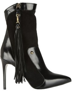 Just Cavalli Black Made In Italy Heel Measures Approximately 100mm/ 4 Inches Suede And Leather Detachable Tassel Pointed Toe Zip 4
