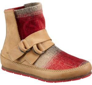 Sorel light tan leather with off white and red paid Boots