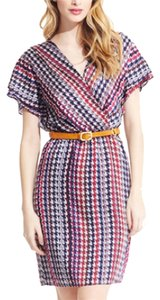 Chelsea Rose Pattern Colorful Blue Wrap Dress