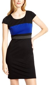 Spense Black Blue Shift Sheath Dress