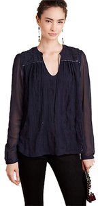Anthropologie Embroidered Tiny Top Navy