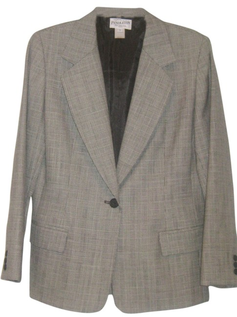 Item - Black and White Plaid Blazer 14p Wool Gabardine Pant Suit Size Petite 14 (L)