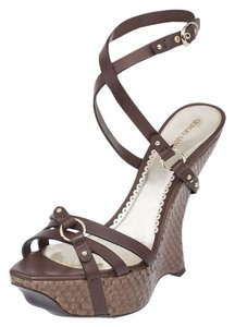 Giorgio Armani Genuine Wedges Comfort Snakeskin Italy Summer Casual Ankle Strap Strappy Platform Celebrety Fashion High Heels High Brown Sandals