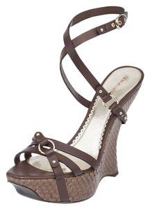 Giorgio Armani Genuine Wedges Brown Sandals