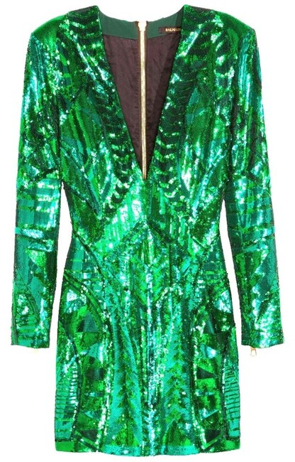 Item - Green H&m Sequin Embroidered Eu 38 Above Knee Night Out Dress Size 8 (M)