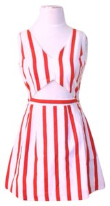 L'ATISTE short dress Red/white Cutout Striped Retro on Tradesy