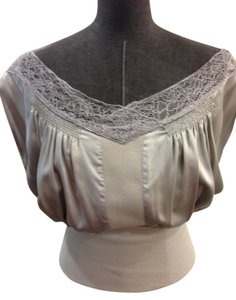Catherine Malandrino Silk Lace Off Top Silver / Gray