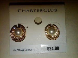 Charter Club Charter Club Pearl And Gold Sparkle Post/ Stud Earrings
