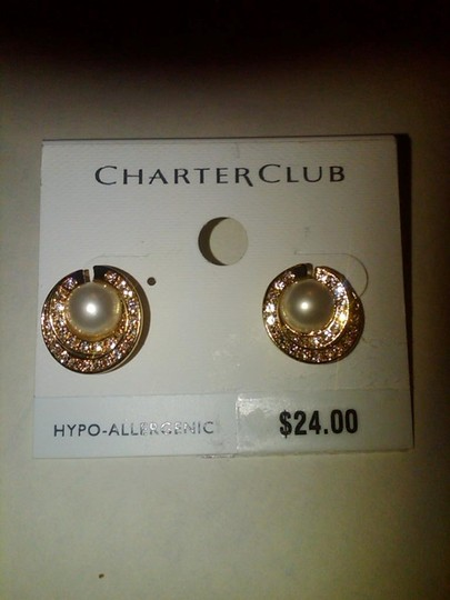 Charter Club Gold White Pearl And Sparkle Post/ Stud Earrings