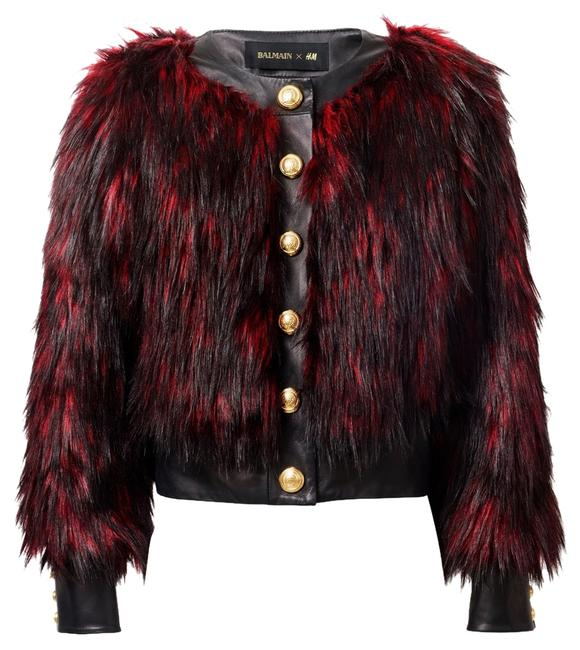 Item - Black and Red Faux Coat Size 4 (S)