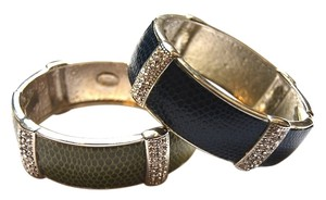 Kenneth Jay Lane Kenneth Jay Lane Snake Printed Leather & Crystal Bangles Set