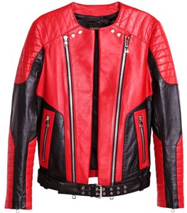 Balmain X H&m Leather Biker Motorcycle Jacket