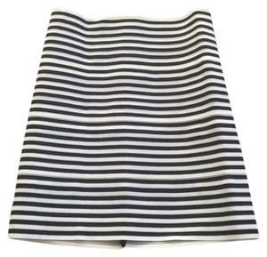 Pleasure Doing Business Mini Skirt Black and white stripe