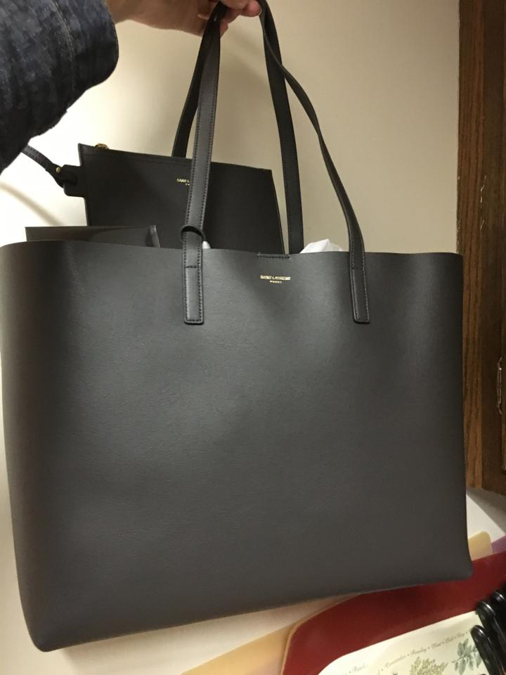 d030c32a46a Saint Laurent Large East-west Leather Shopper Dark Gray Tote