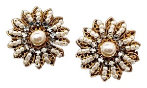 """Miriam Haskell MIRIAM HASKELL Vintage Gold Tone Earrings with Pearls & Rhinestones 1""""x1"""" Signed"""