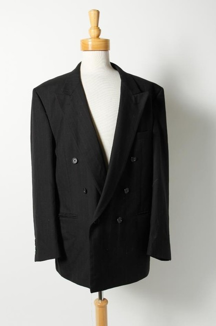 Item - Navy Blue Black Red Pin-striped Double-breasted Pure Wool Sports Coat Blazer Tuxedo