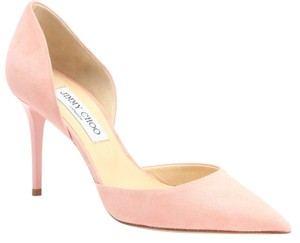 Jimmy Choo Suede Leather Addison Pointed Toe Stiletto D'orsay New 38.5 8.5 Sorbet Pink Pumps