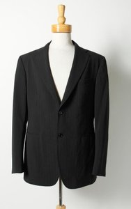 John Varvatos John Varvatos Black Pin-striped 3-button Wool Sports Coat Blazer Size 54r