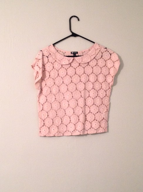 Lily White Open Knit Collar Top Rose