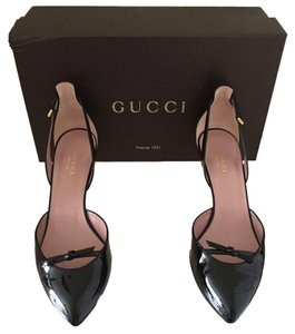 Gucci Patent Patent Heel Patent Kitten Heel Leather Black Pumps
