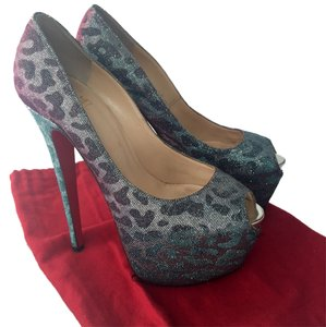 Christian Louboutin Cheetah Leopard Metallic Iridescent Platforms