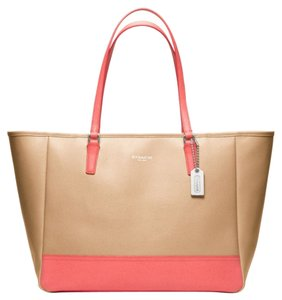 Coach Tote in camel coral color block