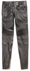 Balmain X H&m Leather Us 4 27 Skinny Pants Black