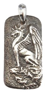 David Yurman David Yurman Sterling Silver Griffin Dog Tag 18mm Pendant (63024)