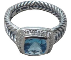David Yurman size 7 New With Pouch David Yurman Albion Petite Ring Blue Topaz With Pave Diamonds