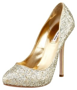 Miu Miu Glitter Gold Pumps