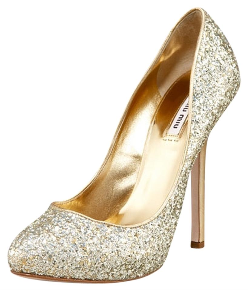 miu miu glitter gold pumps on sale 78 off pumps on sale. Black Bedroom Furniture Sets. Home Design Ideas