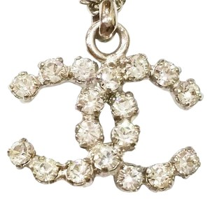Chanel Chanel Gold CC Silver Crystal Rocky Pendant Necklace
