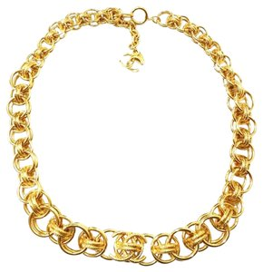Chanel Authentic Chanel Super Rare 18K Gold Plated Ring Chunky Necklace