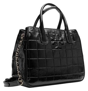 Tory Burch Marion Patent Tote in Black
