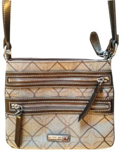 Nine West Cross Body Gold Zipper Striped Satchel in Tan/Gold/Bronze