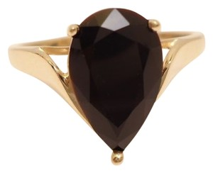 Vintage 14K Solid Yellow Gold Solitaire Onyx Tear Drop Ring~Sz 10.75~3.42g~Wear