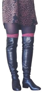 Barneys Co-Op Over The Knee Leather Black Boots