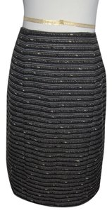 Nanette Lepore Chic Designer Classic Career Skirt Black, White, Grey