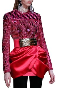 Balmain x H&M Size 8 Mini Skirt RED