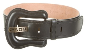 Fendi Black leather Fendi waist wide Zucca monogram belt M Medium