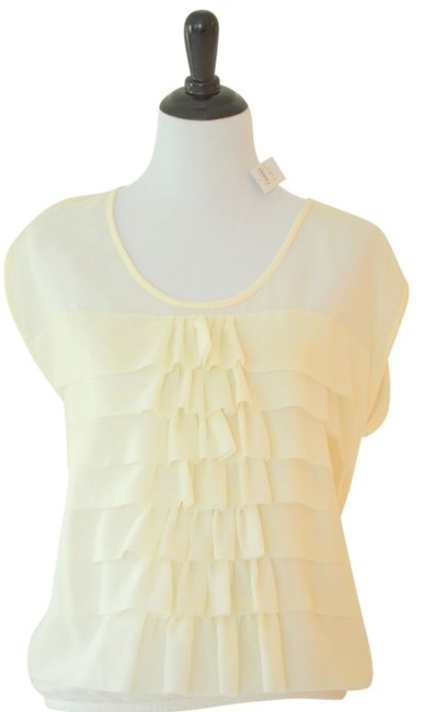 Ann Taylor LOFT Ruffle Sleeveless Top Cream