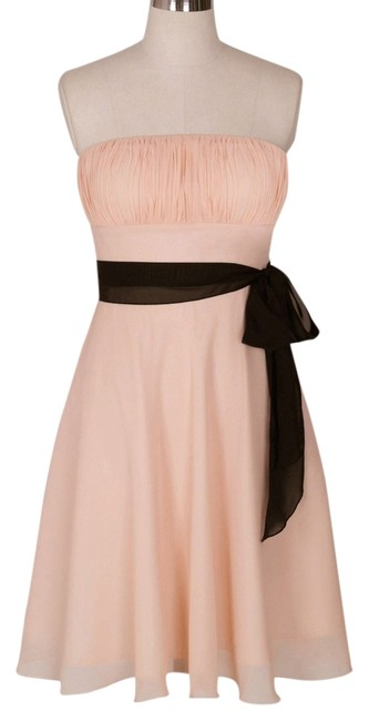 Preload https://item3.tradesy.com/images/peach-strapless-chiffon-pleated-bust-knee-length-cocktail-dress-size-14-l-952807-0-0.jpg?width=400&height=650