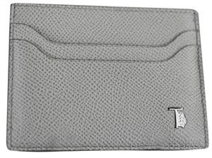 Tod's * Tod's Dark Grey Pebbled Leather 'Letterine' Card Case