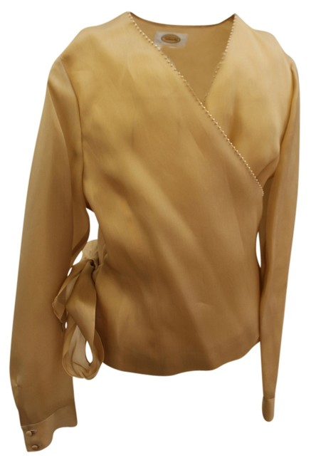 Preload https://item5.tradesy.com/images/talbots-gold-with-pearl-trim-tags-wrap-blouse-size-8-m-952829-0-0.jpg?width=400&height=650