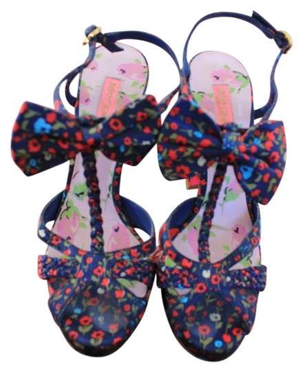 Betsey Johnson Red and Blue Floral Print Sandals